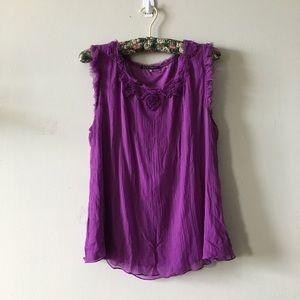 Elie Tahari purple silk top size Large